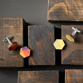 Australian Made Gifts & Souvenirs with the Printed Wooden Cufflinks - Autumn -by Polli. For the best Australian online shopping for a Accessories - 2