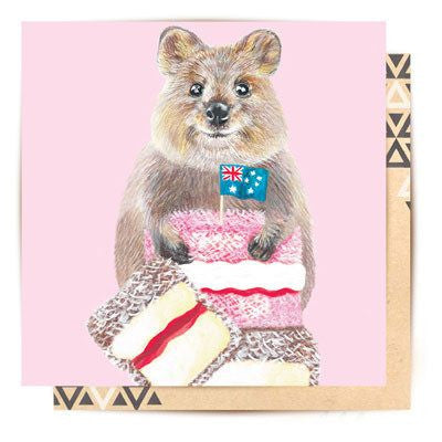 Australian Made Gifts & Souvenirs with the Quokka's Lamington Lunch Greeting Card -by La La Land. For the best Australian online shopping for a Greeting Cards