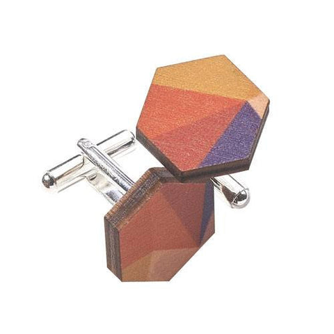 Printed Wooden Cufflinks - Autumn