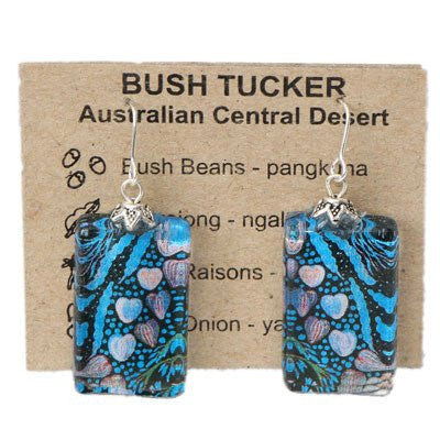 Australian Made Gifts & Souvenirs with the Blue Bush Tucker Earrings -by Simone Dennis. For the best Australian online shopping for a Jewellery