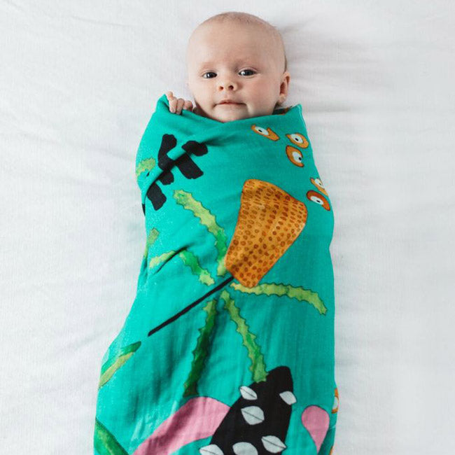 Australian Baby Gifts to Send Overseas - Swaddle Blue Banksia