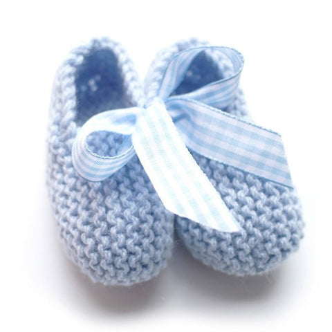 Blue Hand Knitted Baby Booties