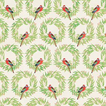 Rosella Wreaths Christmas Wrapping Paper