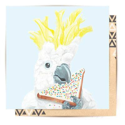 Australian Made Gifts & Souvenirs with the Cockatoo Fairy Bread Feast Greeting Card -by La La Land. For the best Australian online shopping for a Greeting Cards