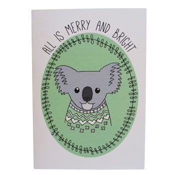 Australian Made Gifts & Souvenirs with the Koala Christmas Card -by Danilalo Designs. For the best Australian online shopping for a Greeting Cards - 1