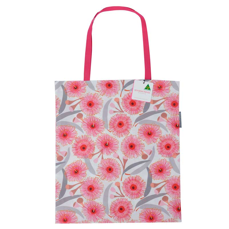 Reusable shopping bag Australian made gum blossom print