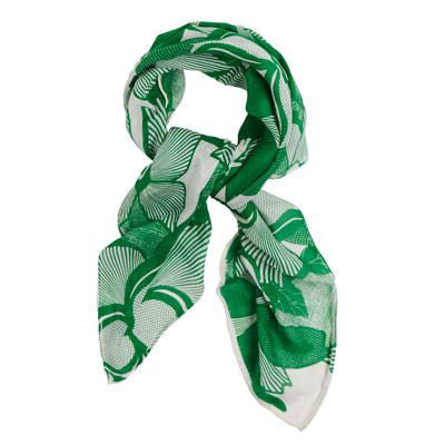 Square Floral Green Silk Wool Scarf