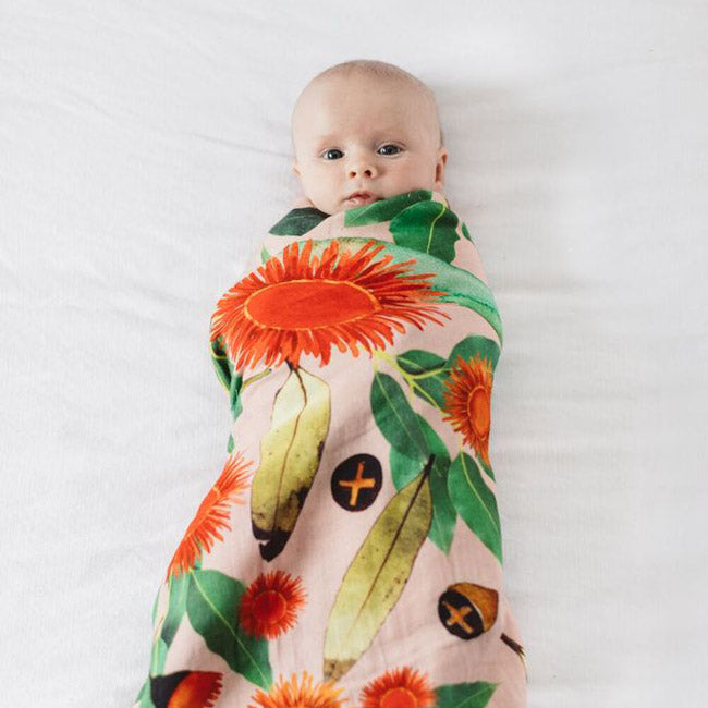 Flowering Eucalyptus Design Babies Swaddle Made in Tasmania Australia