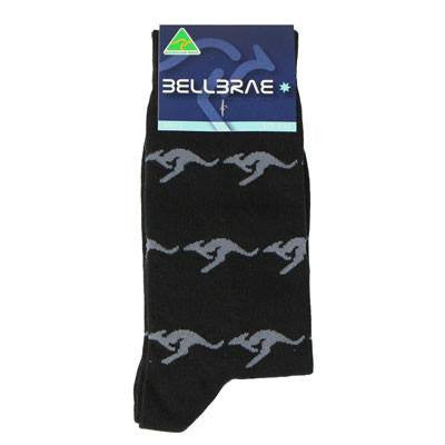 Australian Made Gifts & Souvenirs with the Mens Kangaroo Socks Black -by Bellbrae. For the best Australian online shopping for a Socks - 1