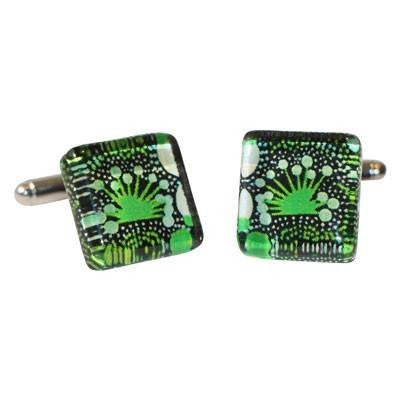 Australian Made Gifts & Souvenirs with the Green Bush Tucker Cufflinks -by Simone Dennis. For the best Australian online shopping for a Jewellery
