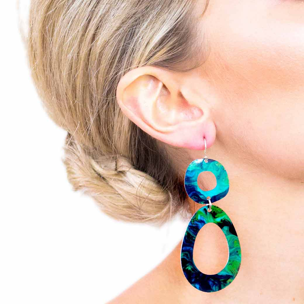 Turquoise Shades Recycled Aluminium Earrings
