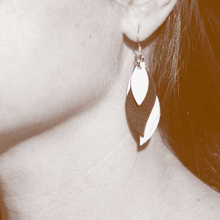 Kangaroo Leather Earrings - Silver / Rose Gold