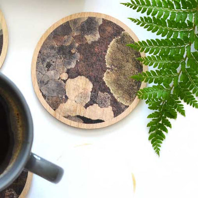 Australian Made Coasters - Made in Tasmania Wooden Coasters with Earth Lichen Print