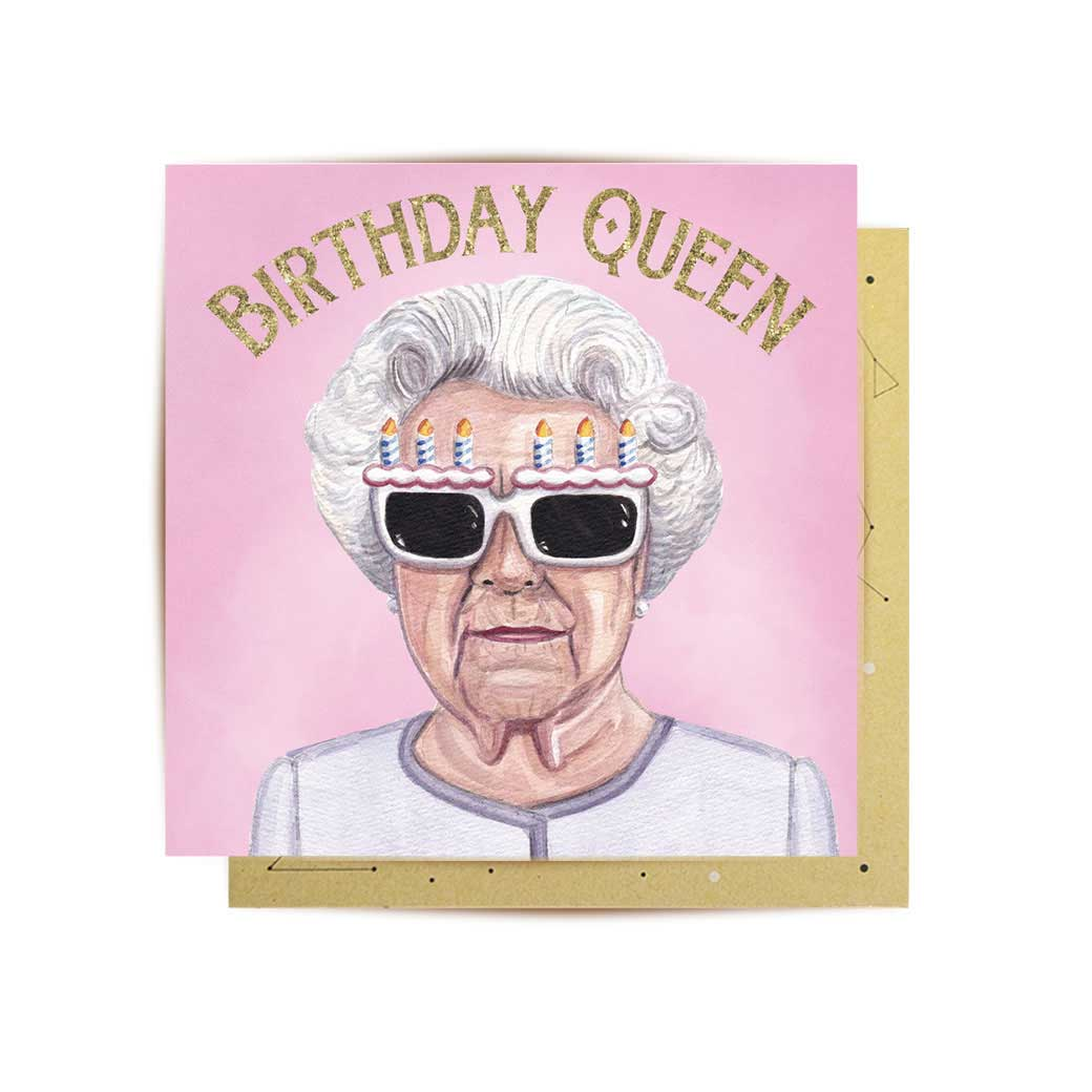mini birthday queen greeting card Australia