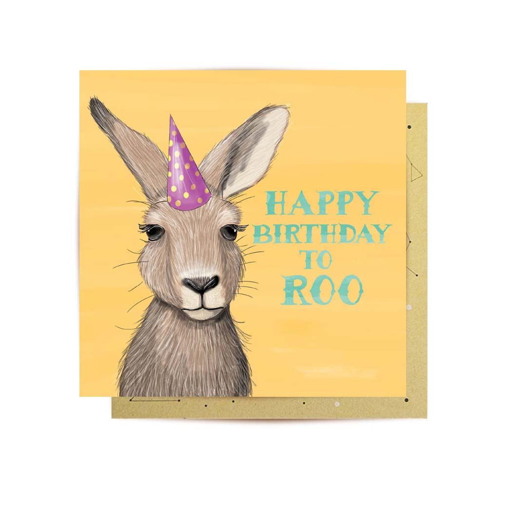 mini happy birthday kangaroo greeting card