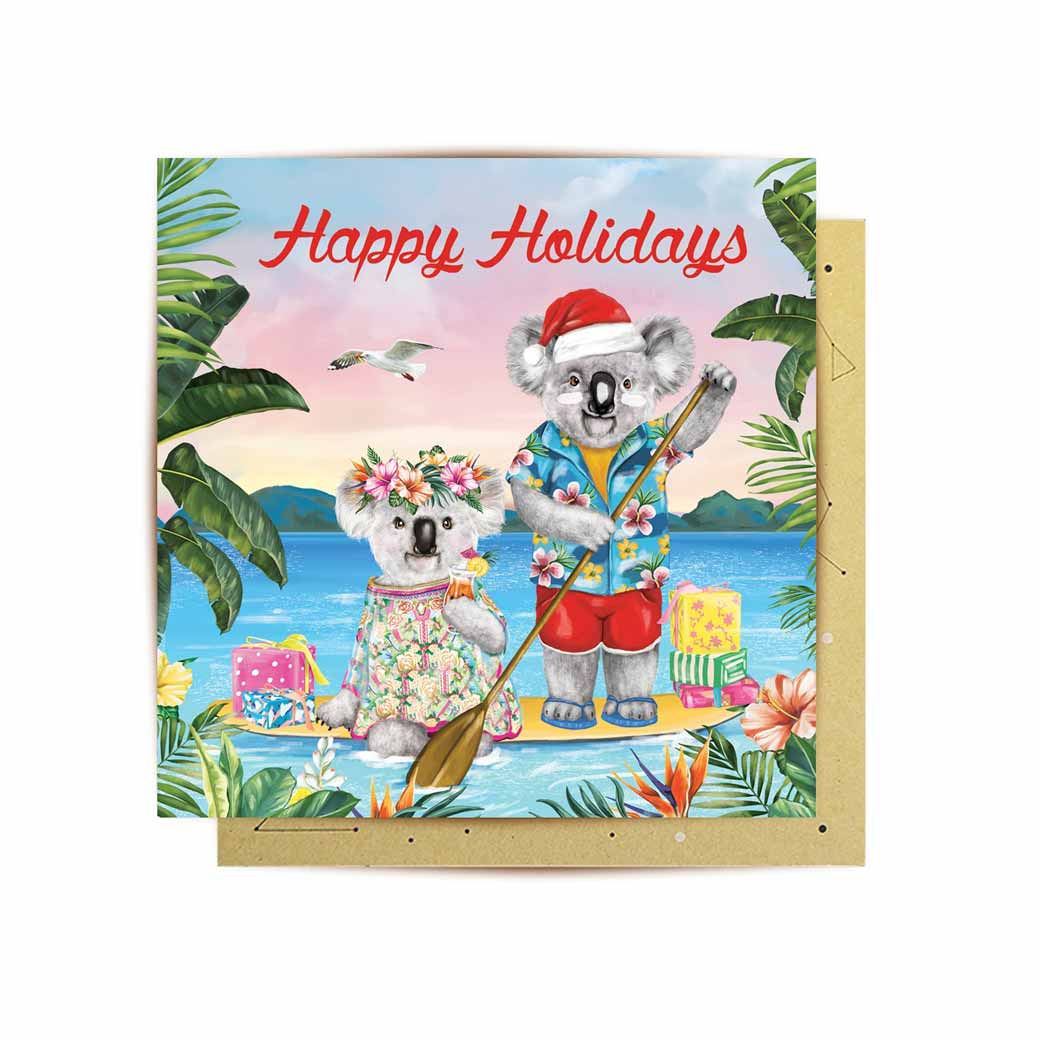 Aussie Christmas Koala Mini Greeting Card Happy Holiday