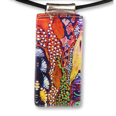 Colourful Bush Tucker Rectangle Pendant