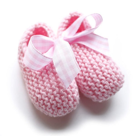 Pink Hand Knitted Baby Booties