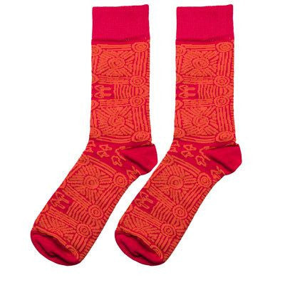 Australian Made Gifts & Souvenirs with the Red Aboriginal Artwork Socks -by Alperstein Designs. For the best Australian online shopping for a Socks - 1