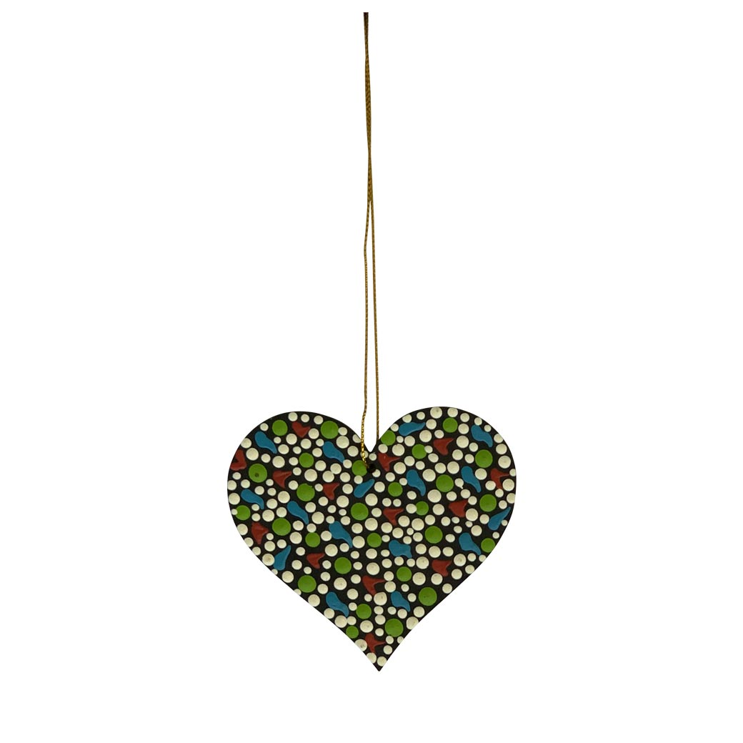 Warlukurlangu hand painted Aboriginal heart decorations made in Australia
