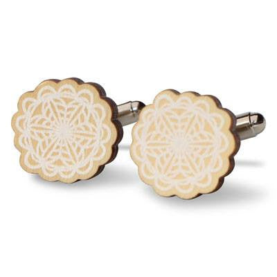 Australian Made Gifts & Souvenirs with the White Patterned Wooden Cufflinks -by Polli. For the best Australian online shopping for a Accessories - 1