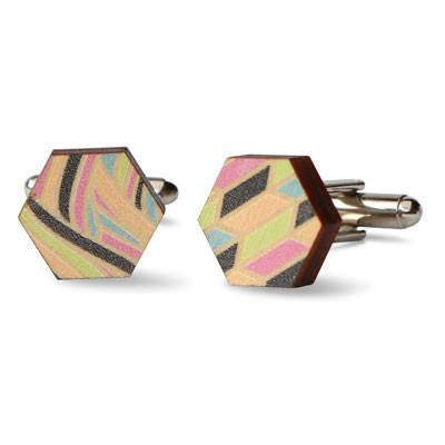 Printed Wooden Cufflinks - Patchwork Colours