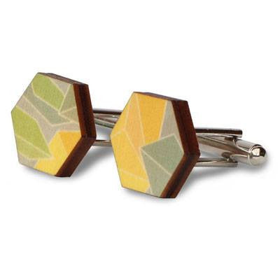 Australian Made Gifts & Souvenirs with the Printed Wooden Cufflinks - Wattle -by Polli. For the best Australian online shopping for a Accessories - 1