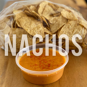 NACHOS (CHIPS, NACHO CHEESE, SOY PICKLED JALAPENOS)
