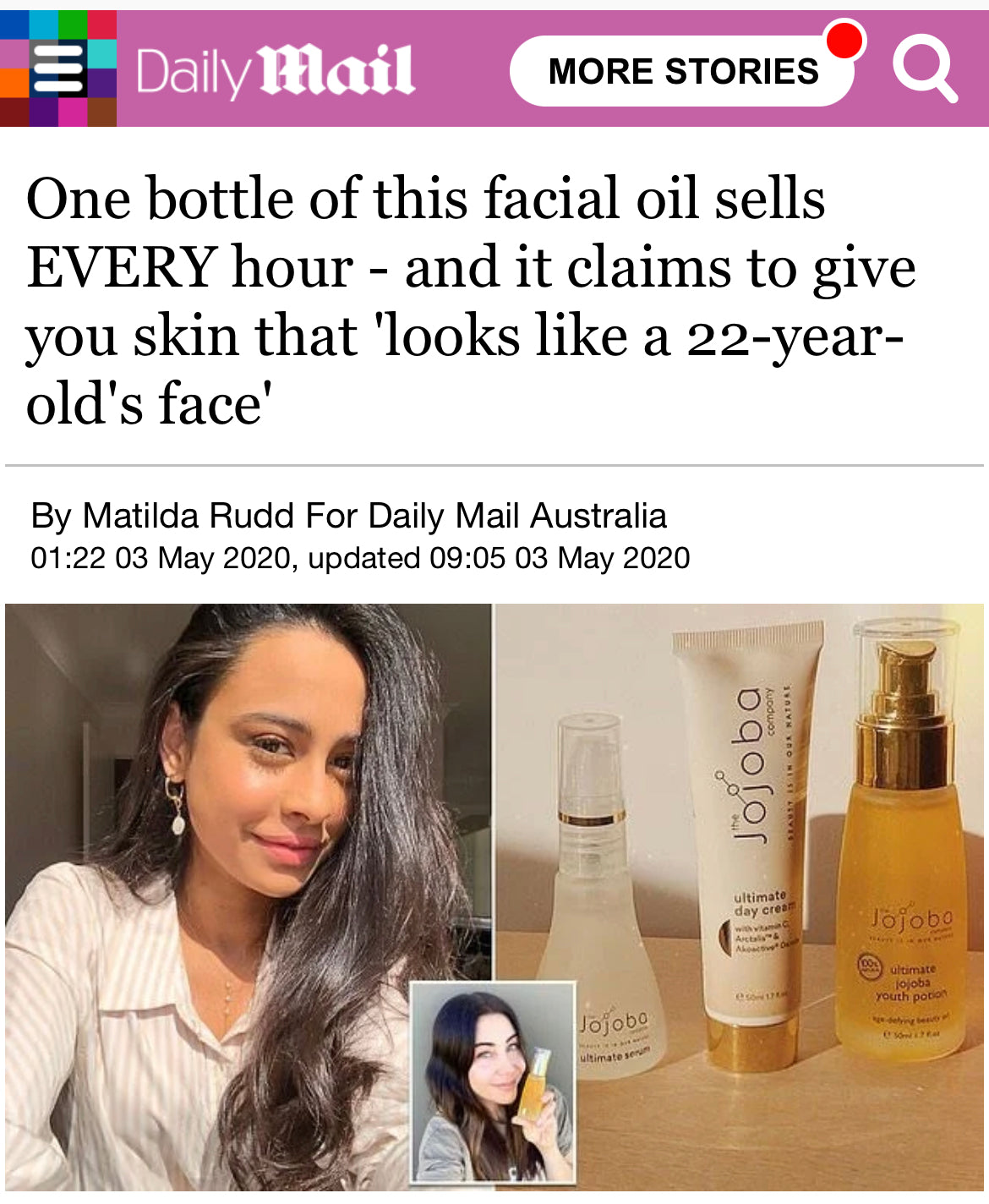 One bottle of this facial oil sells EVERY hour - and it claims to give you skin that 'looks like a 22-year-old's face