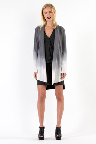 Spring Fleece Leah Cardigan in Black Ombre Wash - Saint Grace