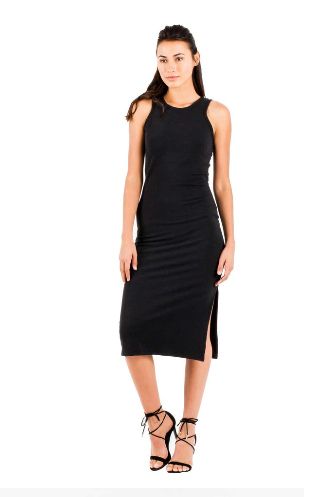 Dominique Midi Dress in Black - Saint Grace