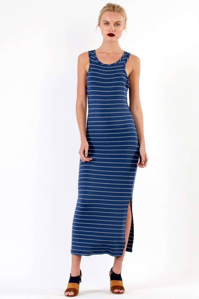 French Jersey Dominique Midi Dress in Dusty Oat - Saint Grace