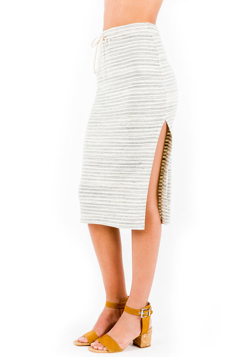 Jodi Midi Skirt in Cream Stripe - Saint Grace