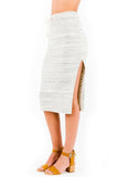 Jodi Midi Skirt in Cream Stripe