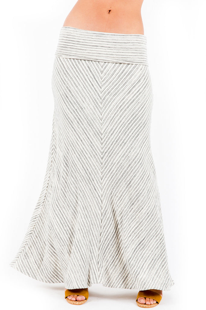 Moby Stripe Foldover Skirt in Cream Stripe - Saint Grace