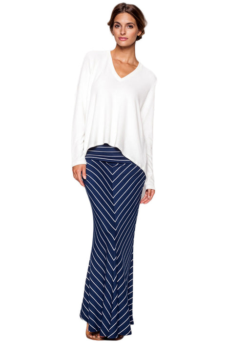 Moby Stripe Foldover Skirt in Liberty White - Saint Grace
