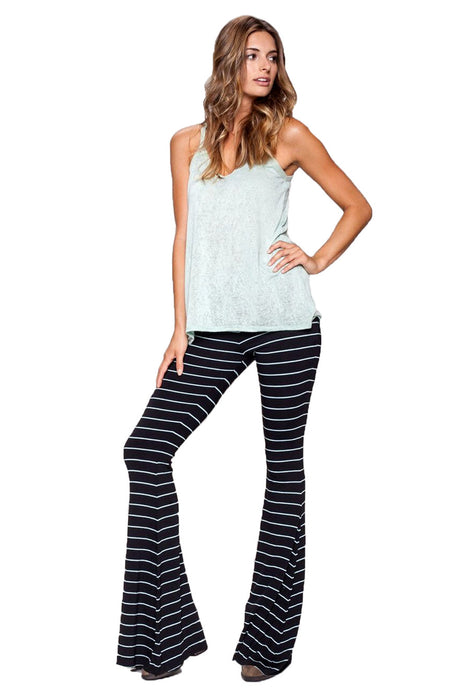 Moby Stripe Ashby Flare Leg Pants in Black White