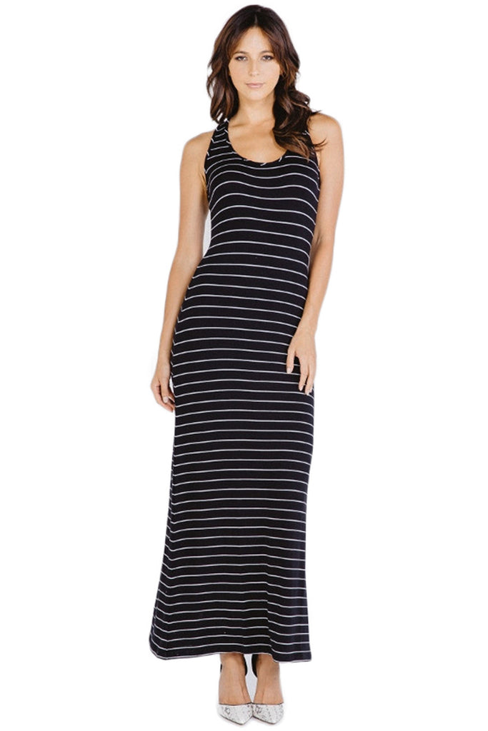 Moby Stripe Maxi Tank Dress in Black White
