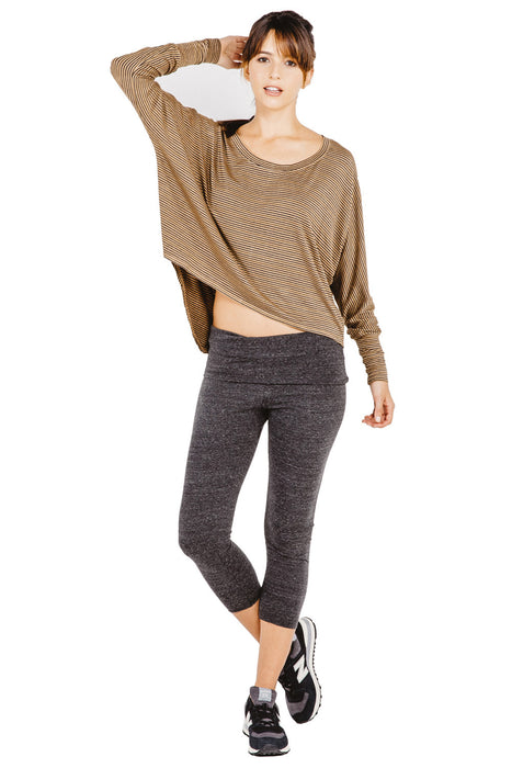 Fold Over Crop Legging in Faded Black - Saint Grace