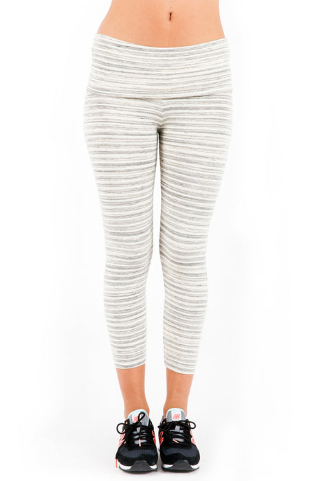 Fold Over Crop Legging in Cream Stripe - Saint Grace
