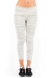 Fold Over Crop Legging in Cream Stripe
