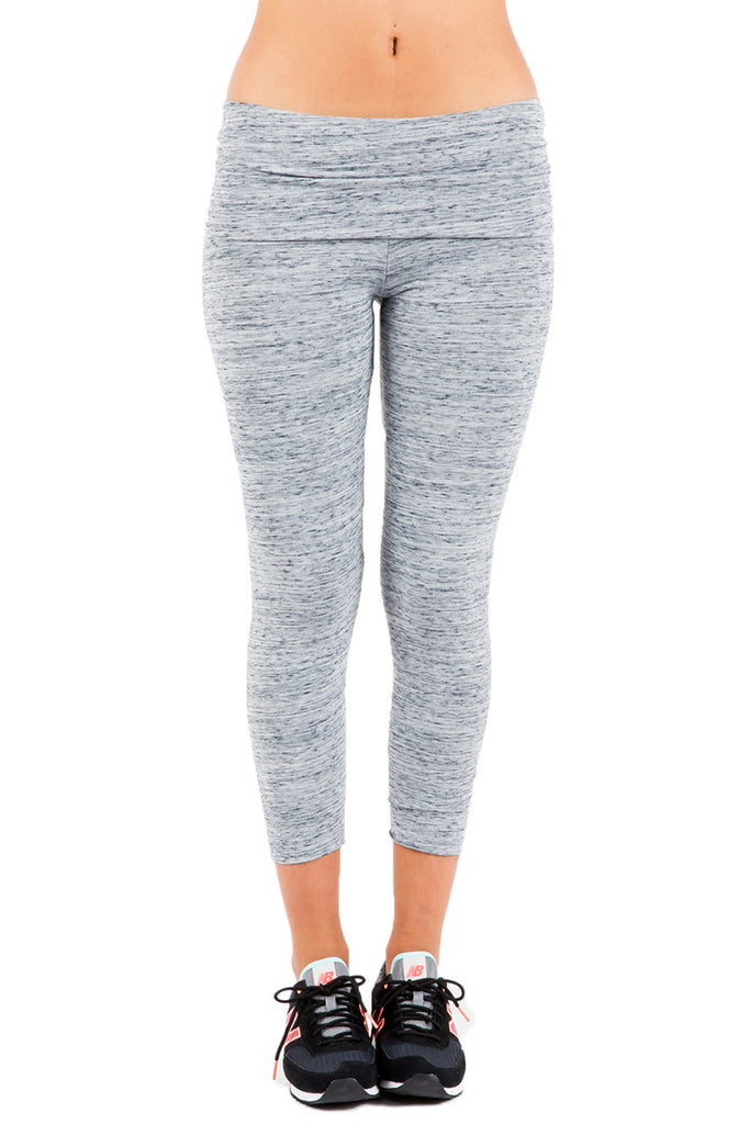 Fold Over Crop Legging in Storm - Saint Grace