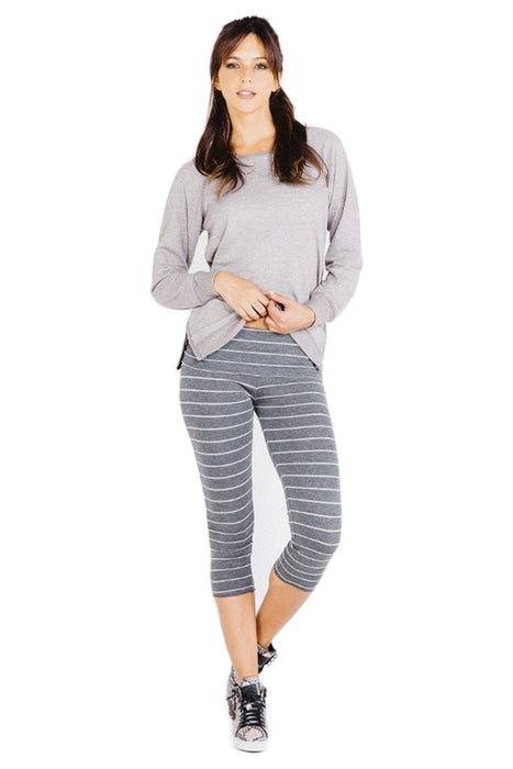 Fold Over Crop Legging in Charcoal Cream - Saint Grace