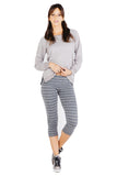 Fold Over Crop Legging in Charcoal Cream