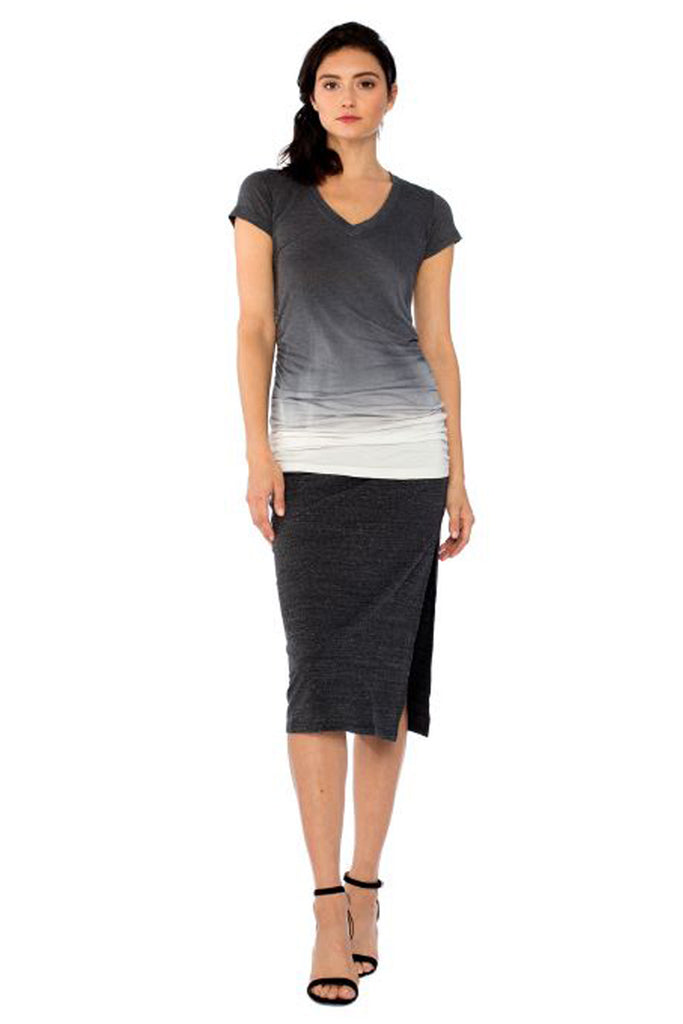 Jodi Midi Skirt in Faded Black - Saint Grace