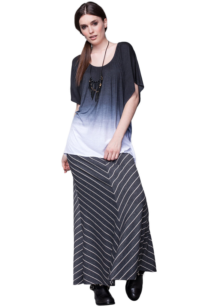 Moby Stripe Foldover Skirt in Charcoal Cream - Saint Grace
