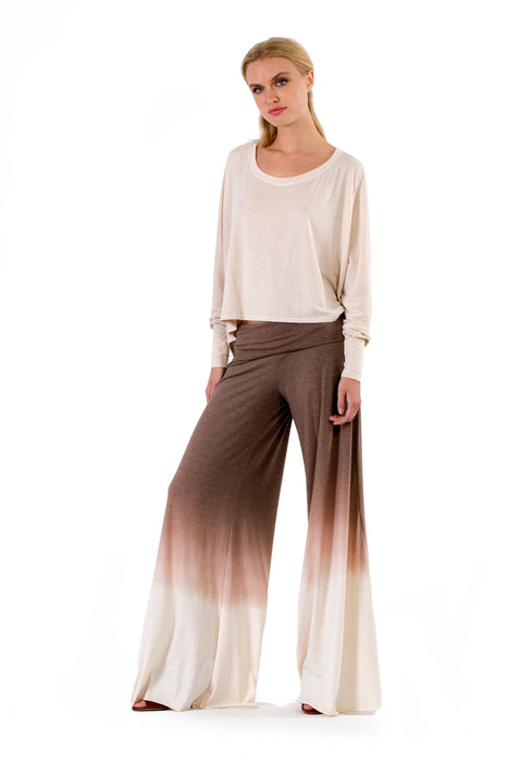 Carol Pants in Espresso Cream Ombre Wash - Saint Grace