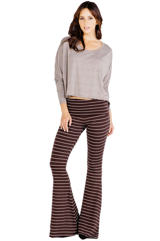 Moby Stripe Ashby Pant in Espresso Cream - Saint Grace