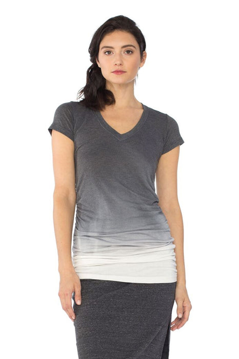 Cap Sleeve Shirred V in Black Ombre Wash