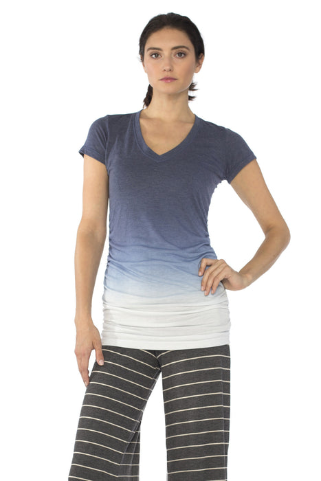 Cap Sleeve Shirred V in Captain Ombre Wash